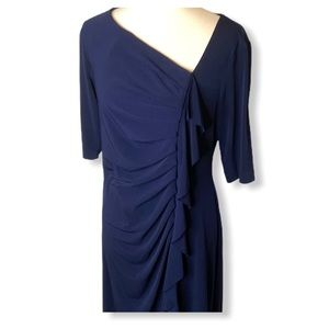 Connected Apparel Navy Side Ruched Ruffle Dress 14